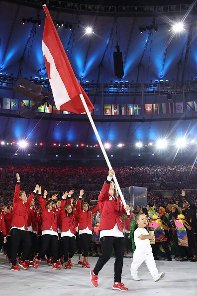 #RIO2016 Members of the Canada team take part during the Opening Ceremony of the Rio 2016 Olympic Games at Maracana Stadium on August 5 2016 in Rio de Janeiro...