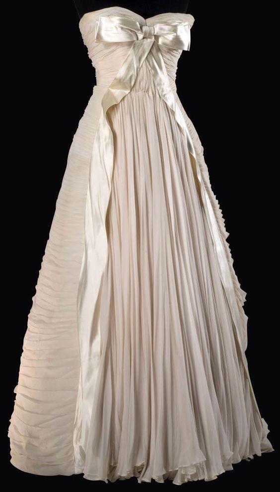 Maggy Rouff - Robe de Soirée 'Bustier' - Plis en Vagues - Mousseline de Soie - 1950-55