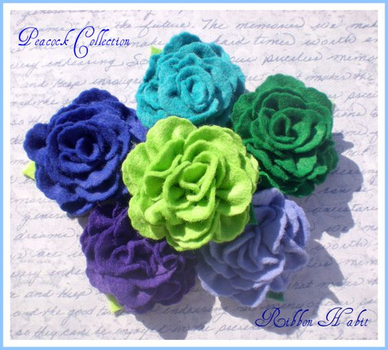 Elegant Hand Sewn Wool Felt Rose Flower Hair Clip by Ribbonhabit, $5.00