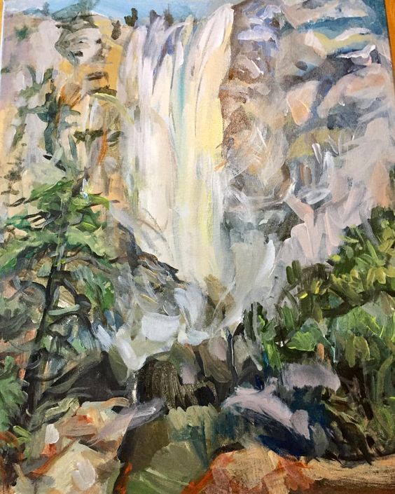 "2 Likes, 1 Comments - SKColeArt (@s.k.cole) on Instagram: ""Yosemite Falls, summer 2017. Acrylic on canvas by SKCole. #paint #landscapepainting #landscape…"""