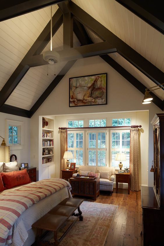 High ceilings nooks and roof trusses on pinterest for Raised bedroom ceiling