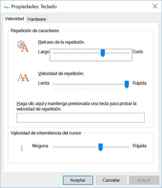 Configurar funcionamiento del teclado en Windows 10