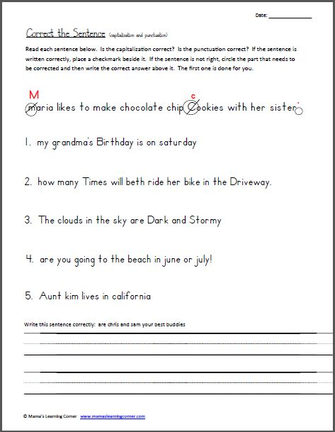 Printables Capitalization And Punctuation Worksheets correct the sentence capitalization and punctuation worksheet grade 1