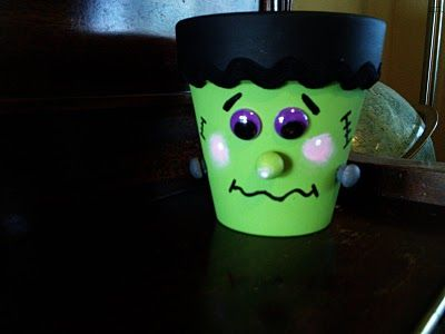 Terracotta Frankenstein you can fill with candy to make a cute decoration