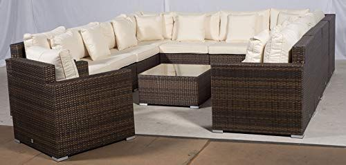 Set Giardino In Rattan.Giardino Havana 11 Seater Brown U Shaped Large Rattan Sofa Set