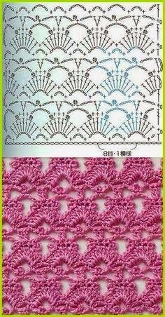 60 Puntos Fantasía en crochet con muestras