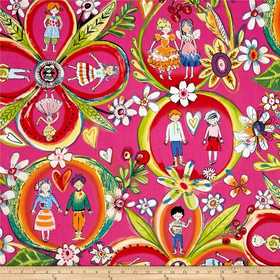 Designed by De Leon Design Group for Alexander Henry, use this cotton print fabric for quilting and craft projects as well as apparel and home décor accents. Dance your way into this ballerina themed print that features different ballet positions. Colors include shades of pink, orange, purple, black, white and aqua.
