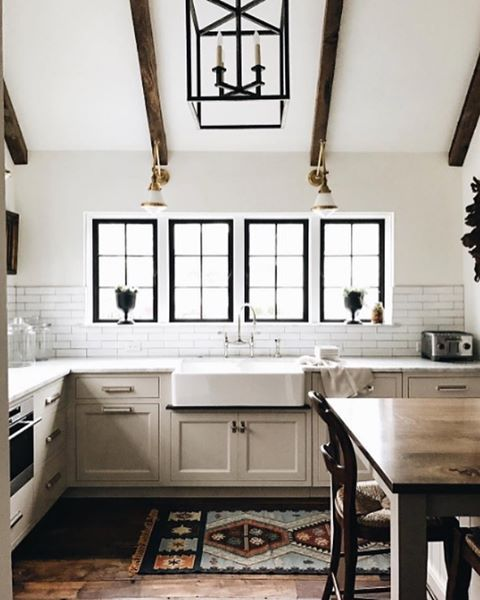 Farmhouse Kitchen With Dark Cabinets: Non-White Farmhouse Kitchens