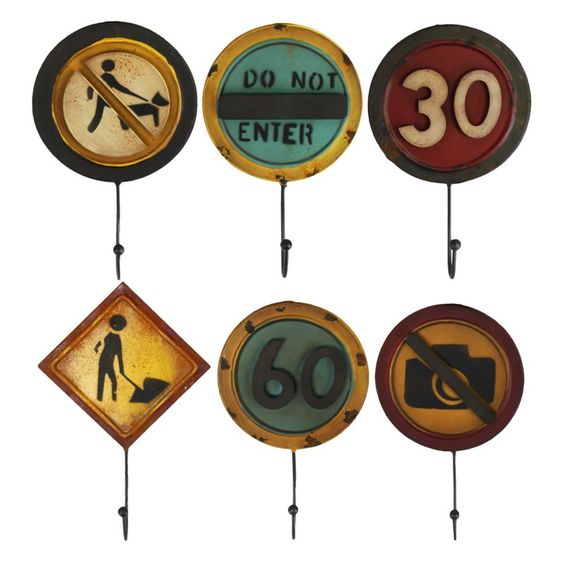 Urban Trends Collection Metal Regulatory Signs Wall Hooks - Set of 6 - 60622-AST