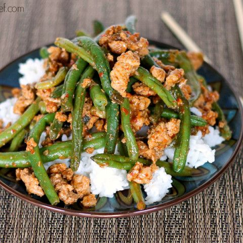Chinese Green Beans With Ground Turkey Over Rice Recipe In 2020 Chinese Green Beans Green Beans Turkey And Green Beans