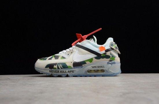 Off White X Nike Air Max 90 Bape Camo Green Custom