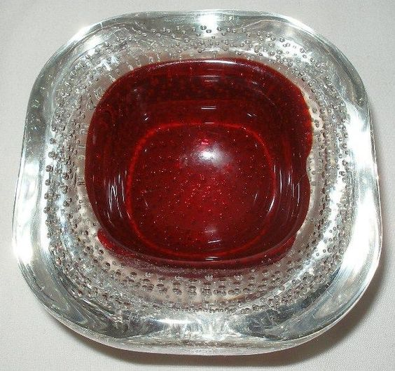 SMALL MIND BLOWING Modern MURANO Art Glass GEODE Bowl RUBY Red CENTER Bullicante
