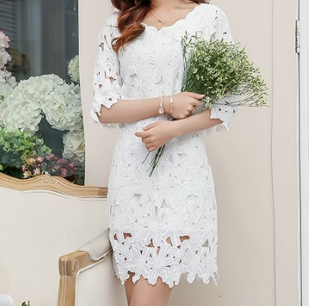 Sweet round neck white lace dress AX51101ax