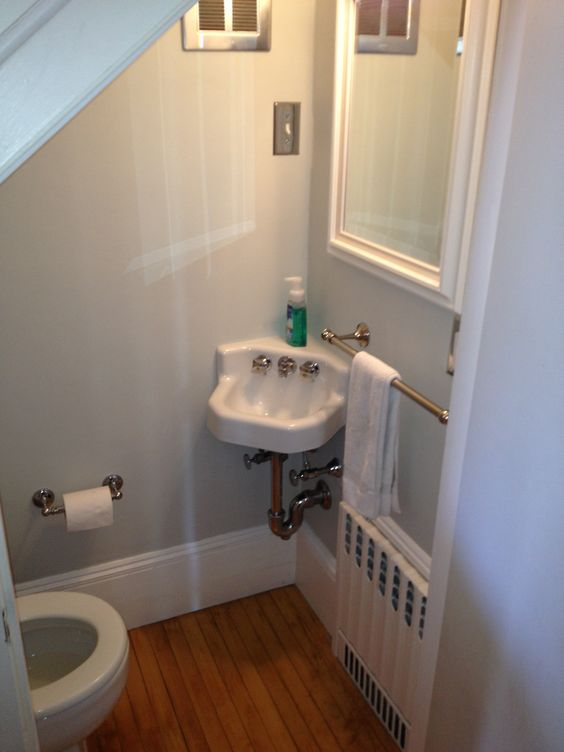 Cute Half Bath Tucked Under Stairs Small Bathrooms Pinterest Half Baths Stairs And Bathroom