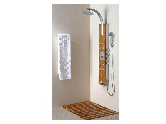 Colonne de douche balnéo thermostatique BAMBOU avec 8 jets de massage, pluie tropicale et panneau en bambou et aluminium
