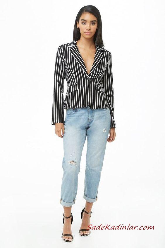Bayan Pantolon Ceket Kombinleri Mavi Mom Jeans Siyah Cizgili Kisa Ceket Siyah Stiletto Ayakkabi Moda Moda Trendleri Stiletto