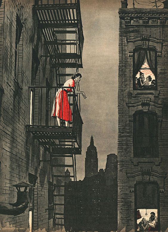 "Ed Vebell illustration to ""Loneliness Is Dangerous"" by Harry Coren. Cutline: ""Alone in the midst of millions, the girl, who longed to talk to someone, stood on her fire escape as the voices of others, enjoying the companionship denied her, drifted up through the night."" Sunday Mirror Magazine, August 14, 1955"
