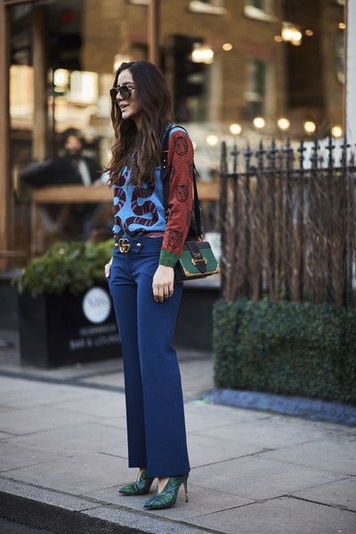 Attendees at London Fashion Week Fall 2018 - Street Fashion