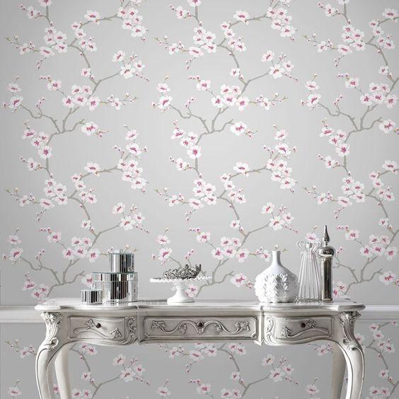 Papier peint pommiers en fleurs gris graham and brown des murs qui donnent - Papier peint graham brown ...