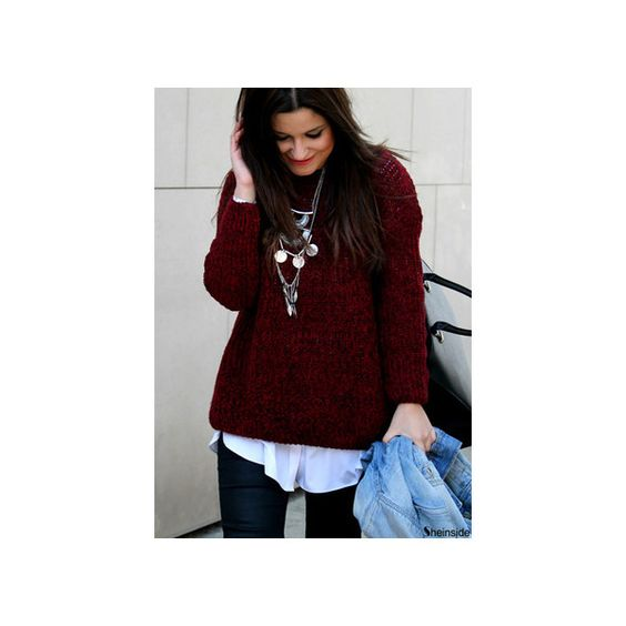 SheIn(sheinside) Red Batwing Long Sleeve Loose Knit Sweater ($20) ❤ liked on Polyvore featuring tops, sweaters, sheinside, long sleeve sweater, oversized batwing sweater, red sweater, pullover sweaters and oversize sweater