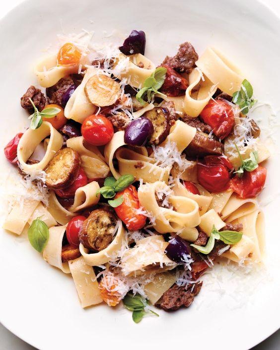 Calamarata with Roasted Eggplants, Tomatoes, and Olives Recipe