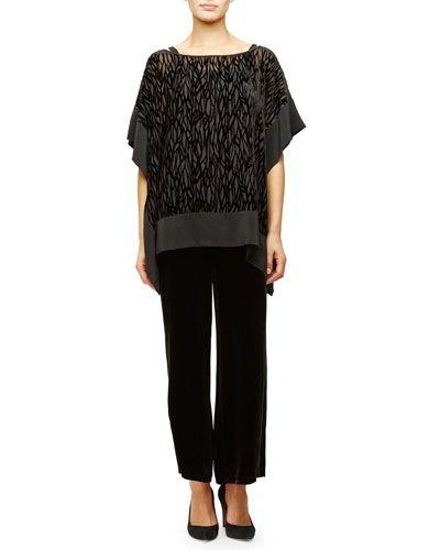 -686Z Eileen Fisher  Velvet Wide-Leg Pants, Black  Silk Jersey Long Slim Camisole Burnout Velvet Poncho/Tunic