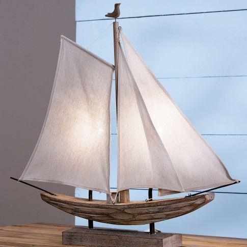 Tischleuchte Segelboot, Maritimer Look Vorderansicht                                                                                                                                                     Mehr