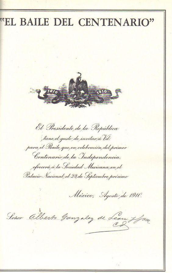 Primero comieron luego bailaros. 23 de septiembre de 1910 en Palacio Nacionalporfirio diaz invitacion cena menu