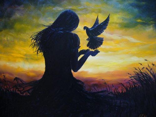Painting of girl in front of sunset with hands out and ...