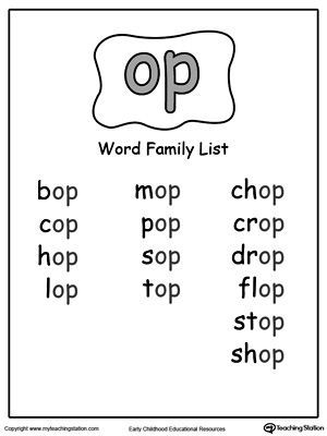 Op Word Family List Word Families Word Family Worksheets Word Family List