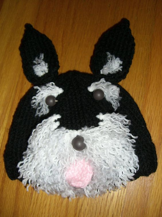 Knitted Baby Beanie Hat Schnauzer Dog Knitted baby, Schnauzer dogs and Diap...