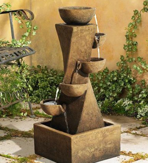 Cascade Fountain Tiered Outdoor Bowl Waterfall 5 Tier 28 Tall Led Light Indoor Cascadefountain Modern Fountain Water Fountains Outdoor Water Fountain