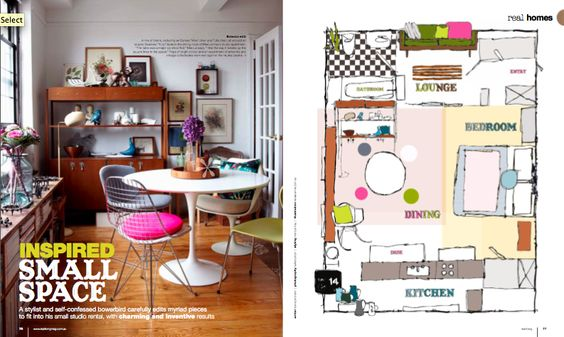 I love the mis-matched chairs in this cute little apartment of Marcus Hay.