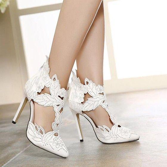 Sandales bout pointu stiletto talon haut diamant strass creux mode de fermeture à glissière broderie mariage bal formelle blanc