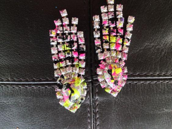 Handpainted Cosmic Neon rhinestone dangle earrings by wasabihot, $45.00