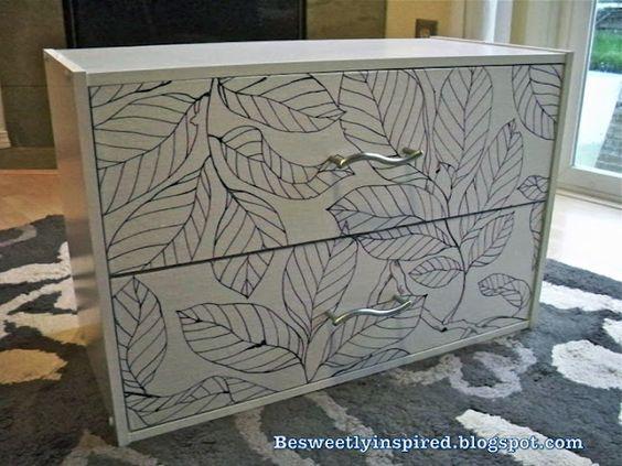 Turning plain white laminate 2-drawer dresser into beauty using fabric and modge-podge.