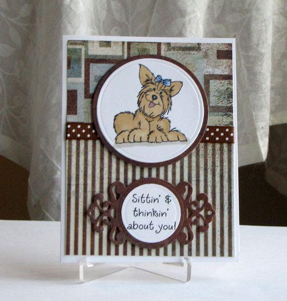 Handmade Yorkie Dog Greeting Card - Thinking of You - handmade card. $4.50, via Etsy.