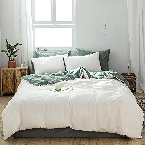 Amztop Newest Classic White Duvet Cover Queen Solid Color Comforter Cover Reversible Quilt Cover White Duvet Covers White Duvet Cover Queen White Bed Covers