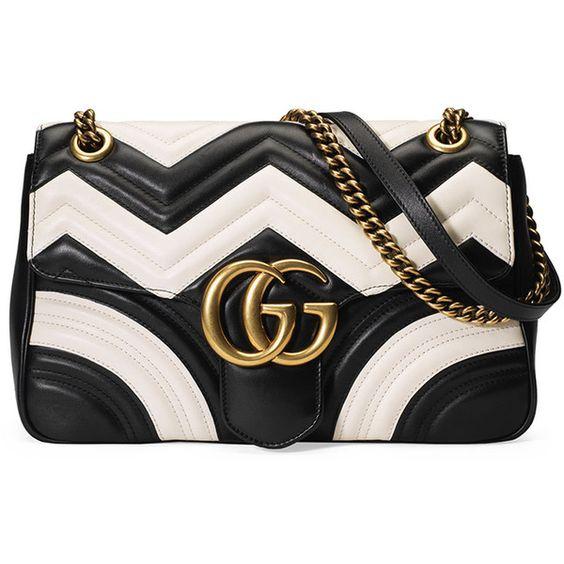 Gucci GG Marmont Chevron Shoulder Bag ($2,750) ❤ liked on Polyvore featuring bags, handbags, shoulder bags, chevron purse, genuine leather shoulder bag, chain shoulder bag, black and white leather purse and leather handbags