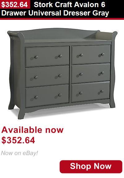 Baby Dressers Stork Craft Avalon 6 Drawer Universal Dresser Gray It Now Only