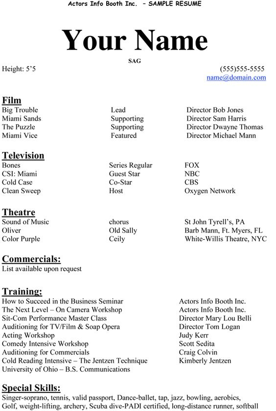 actors resume and acting on