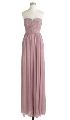 Long lavender bridesmaid dresses 'Nadia' at J.Crew in Dusty Thistle