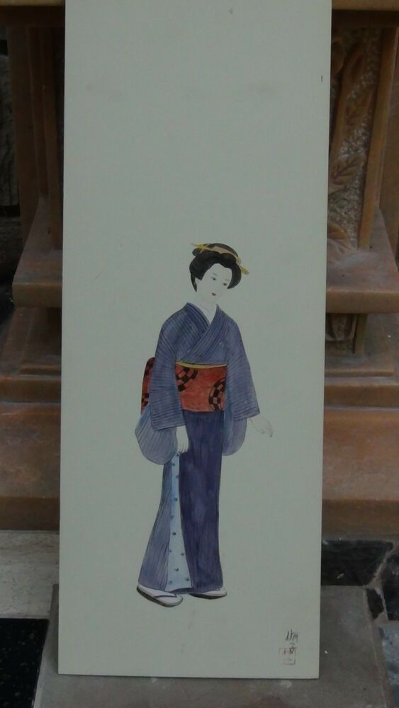 Antique Japanese Watercolor On Paper Girl In Purple Kimono Artist