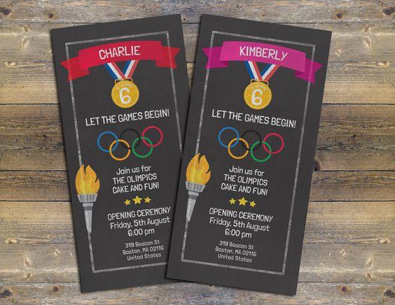 Chalk Board Invite Olympics Birthday Invite par FiestaSupplies