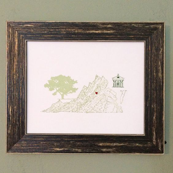 VIRGINIA MAP 8x10 Print by turnofthecenturies on Etsy