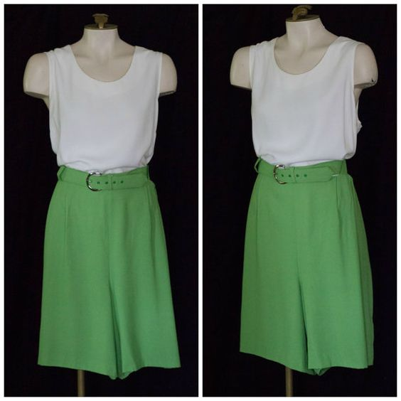 Sleeveless white and green belted romper NEW with tag SIZE 18 by TimeTravelFashions