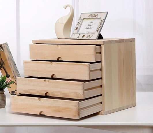 4 Drawer Real Wood Desk Organizer Wooden Drawer Organizer Household Wooden Drawer Organizer Wooden Desk Organizer Wooden Drawers