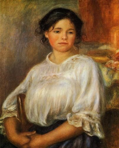 Young Woman Seated - Pierre-Auguste Renoir: