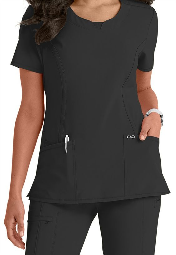 The adorable and sporty Infinity solid top in Black features accents such as a split v-neck, bungee I.D. badge loop, and two roomy pockets! Made with Certainty antimicrobial technology, which is designed for fit and performance and is made of wrinkle-free, four-way stretch material for an athletic feel | Scrubs & Beyond