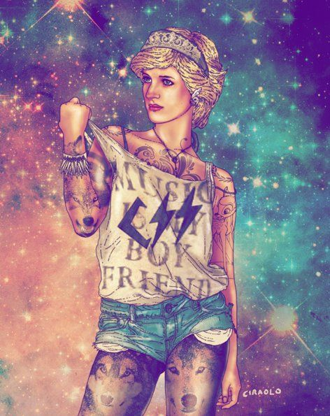 Hipster Princess Diana by Fab Ciraolo